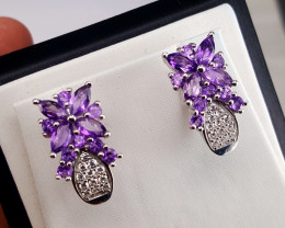 Natural Amethyst with CZ Earring