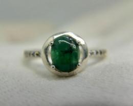Natural Green Emerald Cabochon 11.65 Carats 925 Silver Ring