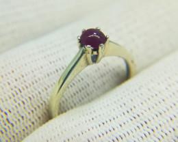 Natural Pinkish Red Corundum Cabochon 8.65 Carats 925 Silver Ring