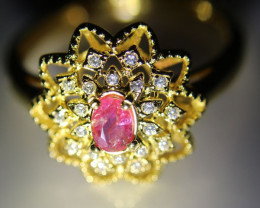 Tajikistan Ruby .35ct Yellow Gold Finish Solid 925 Sterling Silver Ring Nat