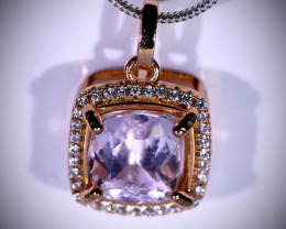 Pink Kunzite 6.50ct Rose Gold Finish Solid 925 Sterling Silver Pendant