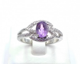 NATURAL AMETHYST WITH 925 SILVER RING C 3