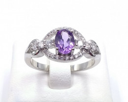 NATURAL AMETHYST WITH 925 SILVER RING C 5