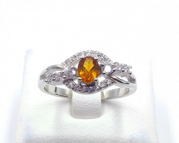 NATURAL  CITRIN WITH 925 SILVER RING C 14