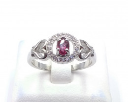 NATURAL RHODOLITE WITH 925 SILVER RING C 18