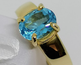 14kt. Gold Blue Topaz Solitaire Ring 2.20cts.