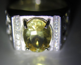 Yellow Scapolite 3.00ct White Gold Finish Solid 925 Sterling Silver Ring