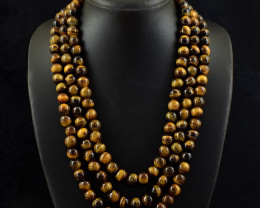 3 Strand Golden Tiger Eye Beads Necklace