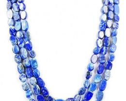 Genuine 430.00 Cts 3 Lines Lapis Lazuli Necklace