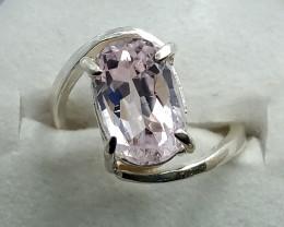 Natural Pink Kunzite Long Oval Shape 925 Sterling Silver Ring