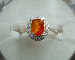 Rare Natural Orange Clinohumite 925 Sterling Silver Ring