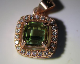 Mint Green Tourmaline .80ct Rose Gold Finish Solid 925 Sterling Silver Pend