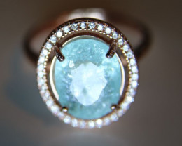 Paraiba Tourmaline 4.24ct Rose Gold Finish Solid 925 Sterling Silver Ring