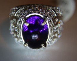 Amethyst 7.74ct Platinum Finish Solid 925 Sterling Silver Ring    Size 8