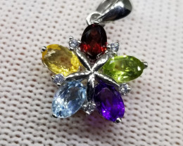 Natural Multi Stones 925 Silver Sterling Pendant with CZ