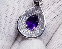 Natural Amethyst Pendant Silver 925 with CZ