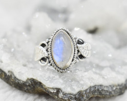 RAINBOW MOONSTONE RING 925 STERLING SILVER NATURAL GEMSTONE JR397