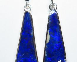 Boulder Opal Earrings Silver Bezel Set