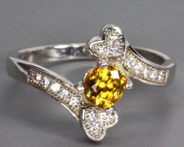 Natural Yellow Sphene (Titanite) stunning Fire 13.24 carats 925 silver RING