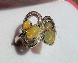 Natural full fire Opal Ring With CZ.