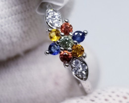 Natural Multi Color Sapphire with CZ in Silver 925 Ring