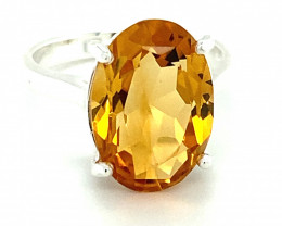Citrine 5.20ct Platinum Finish Solid 925 Sterling Silver Solitaire Ring