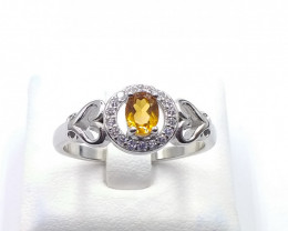 NATURAL CITRIN WITH 925 SILVER RING C 38