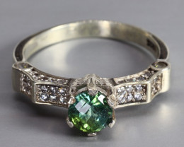 Natural Afghan Tourmaline 16.19 CTS Ring 925 Sterling  Silver