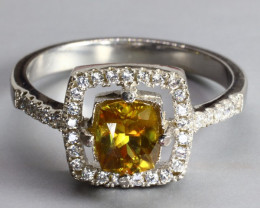 Natural Yellow Sphene (Titanite) stunning Fire 14.63 carats 925 silver RING
