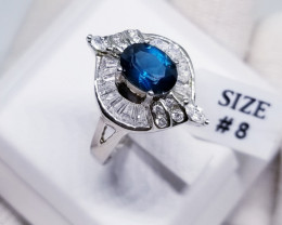 Natural London Blue Topaz with CZ in Silver 925 Ringg