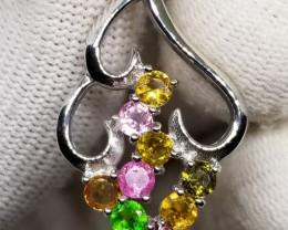 Natural Multi Color Tourmaline Pendant silver 925