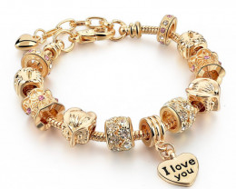 European Style Authentic Tibetan Gold-Charm Bracelet I Love You