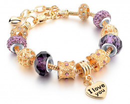 European Style Authentic Tibetan Silver-Charm Bracelet I Love You