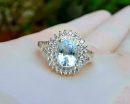 Natural Aquamarine with cz 925 Silver Ring, 8x6x4mm.