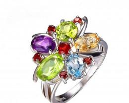 3ct Natural Amethyst Garnet Peridot Topaz Gemstone Ring Size 8