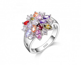 925 Sterling Silver Colorful Flower Ring Size 9