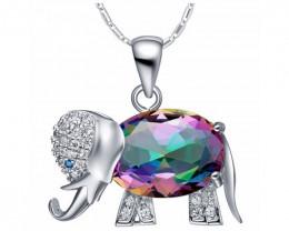 Elephant Pendant Necklace Rainbow Mystic , Red, Blue or Purple