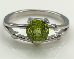10.14 Crt Natural Peridot 925 Sterling Silver Ring AB (01)