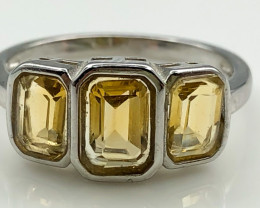 12.60 Crt Natural Citrine 925 Sterling Silver Ring AB (01)