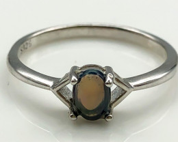 8.21 Crt Natural Opal 925 Sterling Silver Ring AB (01)