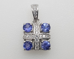 Natural  Tanzanite Pendant with White CZ in Silver 925.