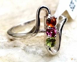 Natural Multi Color Tourmaline Silver 925 Ring 10.95 Ct