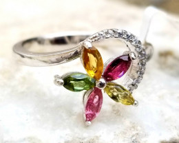 Natural Multi Color Tourmaline in Silver 925 13.00