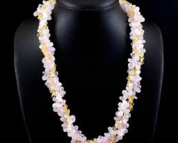 Rose Quart & Citrine Beads Necklace