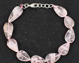 120.00 Cts Pink Rose Quartz Pear Shape Beads Bracelet