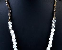 Genuine 166.00 Cts White Quartz & Smoky Quartz Beads Necklace