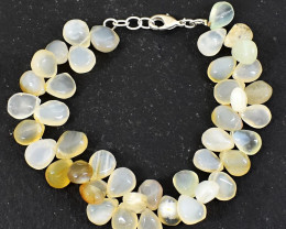 Genuine 255.00 Cts Chalcedony Beads Bracelet