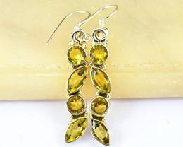 Stunning Genuine Lemon Quartz Earrings Pair In Silver