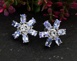 Stunning Genuine Tanzanite Ear Studs / Earrings In Silver