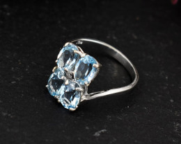 Stunning Genuine Blue Topaz Ring In silver